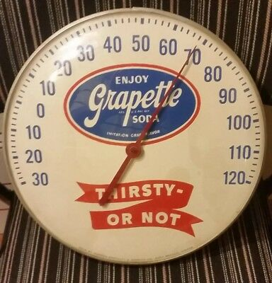 Vintage GRAPETTE metal & glass advertising thermometer antique sign gas station