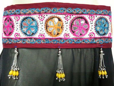 Ethnic Tribal Belly Dance Kuchi Skirt Sari Rave Banjara Boho Afghan Hippe Fusion
