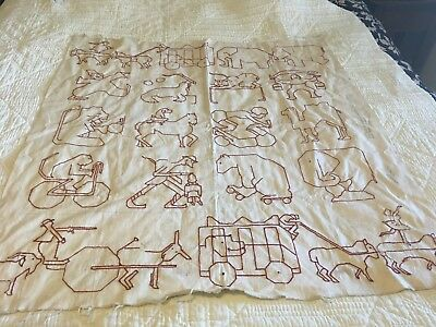 Moprimitivepast Rare Vintage Childs Red Work Embroidery Circus  Animal Quilt Top