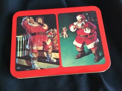 New 1993 Coca-Cola Playing Cards Collectible Tin Santa Claus Coke Unused