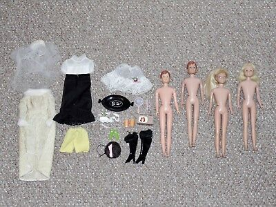 1960s Barbie SL Mixed Lot of 4 Dolls with Some Accessories Ricky Skipper More