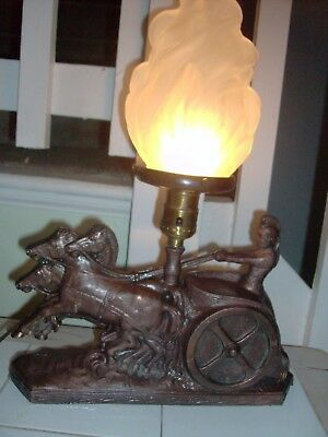 1920's GLADIATOR SPELTER LAMP art deco CHARIOT & HORSES FRENCH TORCH GLASS SHADE