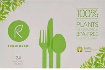 Repurpose High Heat Utensils Combo 24 Count New BPA-Free Spoon Fork Knife Assort