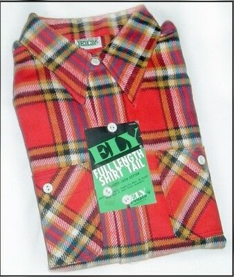 Vintage Ely FLANNEL SHIRT Red Gold Plaid LG DEADSTOCK Chore Work NOS
