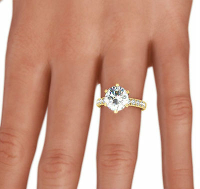 Natural Accented Round Cut Diamond Ring 3.5 Carats Estate 18K Yellow Gold Si1