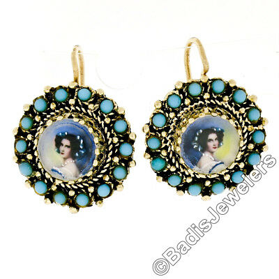 Vintage Antique 14k Yellow Gold Painted Portrait Turquoise Border Drop Earrings