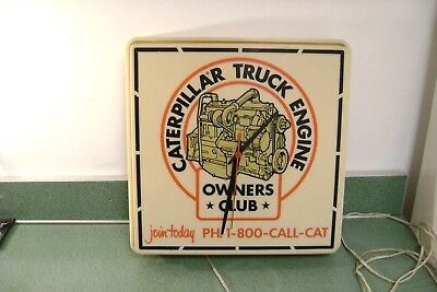 Vintage Caterpillar Truck Engine Owners Club Advertising Clock Works Rare