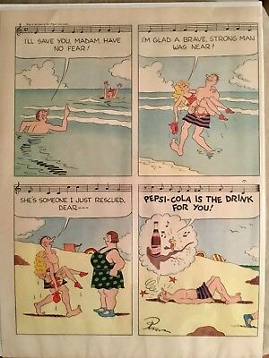 1947 Original PEPSI COLA ad of man and woman at beach by Posen