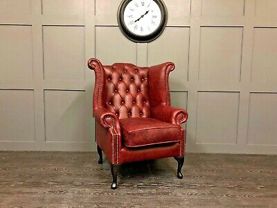 Chesterfield Queen Anne High Back Wing Chair In Vintage OXBLOOD Leather