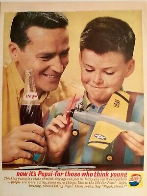 1962 Original Pepsi Cola Ad of Boy and Dad with Airplane