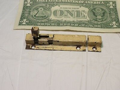 Antique solid Brass Jelly Cabinet door Slide Latch barrel bolt lock  3 3/4""