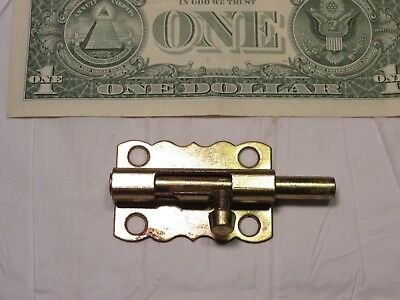 Antique cast iron Brass plate Jelly Cabinet door Slide Latch barrel bolt lock 2""
