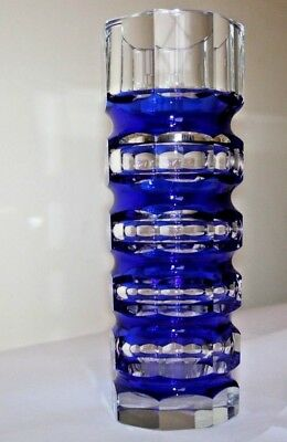 Large Octagonal Blue Vase Val Saint Lambert Similar To Moser Or Jg Durand