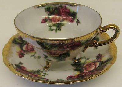 Vintage Royal Sealy China Roses~Three Footed Cup W/matching Saucer~Made In Japan