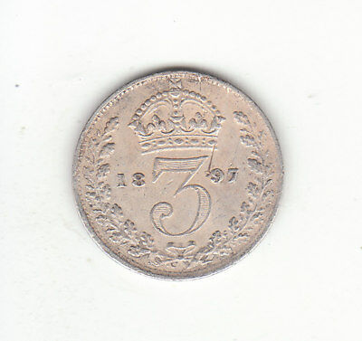 1897 Great Britain Queen Victoria Sterling Silver Threepence.
