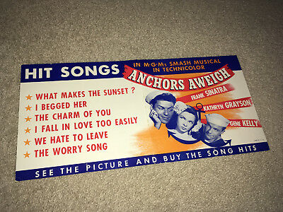 ANCHORS AWEIGH Original Movie Poster 1945 Frank Sinatra Gene Kelly Musical Navy