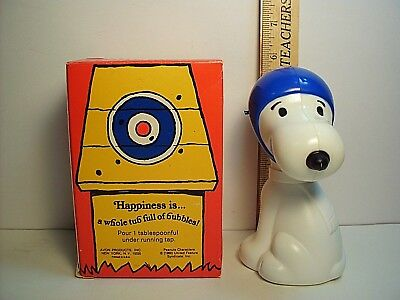 "Vintage 1969 Snoopy ""The Flying Ace"" Bubble Bath Decanter Bottle & Original Box"