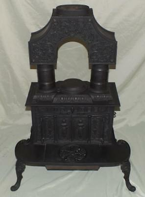 """Antique Cast Iron Column Stove """"lady With The Torn Dress""""  Tyson Furnace Co, Vt"""