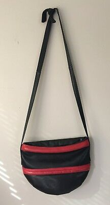 Saks Fifth Avenue Vintage 80's Punk Black Leather Purse Made In Italy