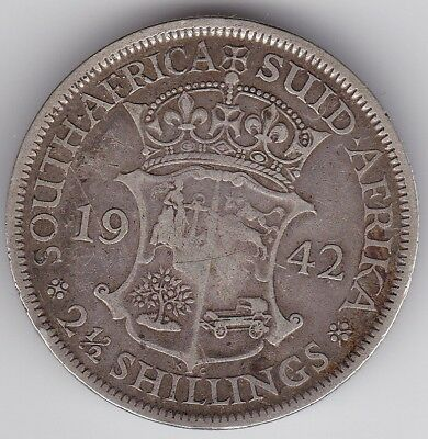 South Africa Silver Coin 2 1/2 Shillings 1942