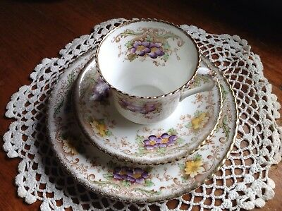 Melba Fine Bone China Trio, Cup, Saucer, Plate, Violets, Lots More Items