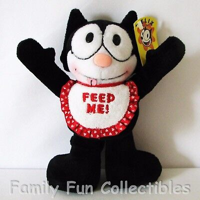 "FELIX THE CAT~1990s AA Plush~Stuffed Doll~Feed Me Bib~8"" Baby Figure Toy~NEW NOS"