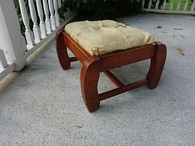 MCM RETRO Vintage Antique Wooden Wood Rustic SOLID MAPLE Foot Stool