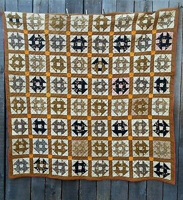 ANTIQUE Mid 1800's Quilt Churn Dash Queen Size Made of Old Clothes & Flour Sacks