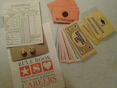 Lot 1965 Parker Brothers Careers Game Parts Vintage