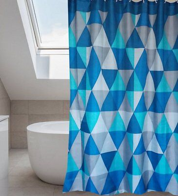 Watercolor Triangles Blue Fabric Shower Curtain New Free Shipping