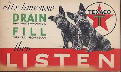 Texaco Oil 1931 Advertising Postcard With Two Scotty Dog's