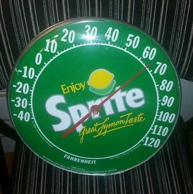 SPRITE LEMON-LIME round domed advertising thermometer sign gas station farm