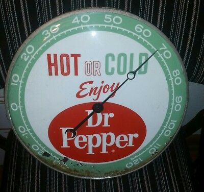 DR. PEPPER metal & goass Pam advertising thermometer antique gas station sign