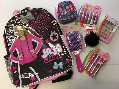 🦄🎀 New JOJO SIWA BACKPACK ACCESSORIES LOT brush nails lipgloss keychain bow