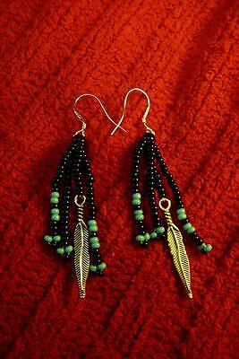 Native American Indian - Traditional Feather Beaded Sterling Silver Earrings