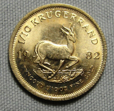 VINTAGE 1982 South African Gold Krugerrand 1/10 Tenth Ounce Nice Coin.