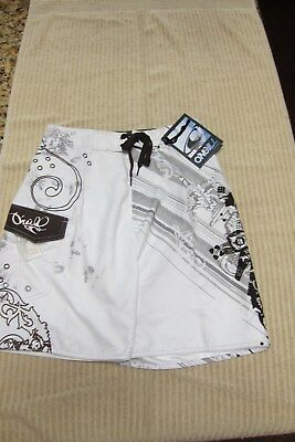 New O'neill Boardshorts Mens Sz 28  Mesh Lined White With Brown 1952 Design