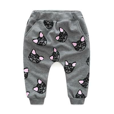 Winter Toddler Baby Kids Lovely Clothes Cats Print Tracksuit +Pants Outfits Set