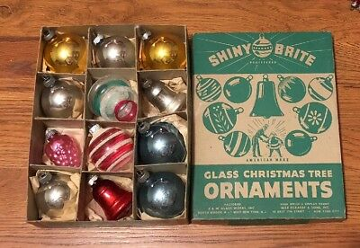 Vintage Shiny Brite Glass Christmas Ornament Assortment w Box Clear Bells Etc