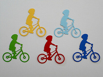 Boy on Bicycle Paper Die Cuts x 2 Sets Scrapbooking Embellishment - Not a Die