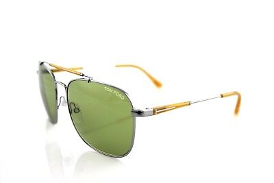 935200627dac RARE New Authentic TOM FORD EDWARD Silver Orange Green Sunglasses TF 377 14N