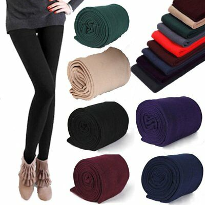 Women's Winter Thick Warm Footless Slim Stretch Leggings Skinny Pants AU