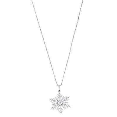 """1/2 Ct Diamond .925 Sterling Silver Snowflake Pendant with 18"""" Chain Necklace"""