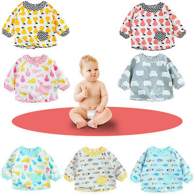 Elastic Band Baby Toddler Waterproof Long Sleeve Feeding Apron Tie Children Kids