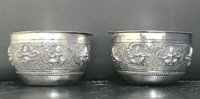 Indian Pair Of Continental Solid Silver Cups And Saucers , Hallmarked