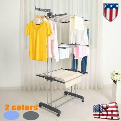 Laundry Clothes Storage Drying Rack Portable Folding Dryer Hanger Heavy Duty HM1