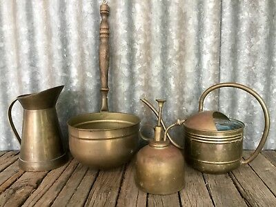 VINTAGE BRASS ITEMS Lot Of 4 Pieces RUSTIC DISPLAY