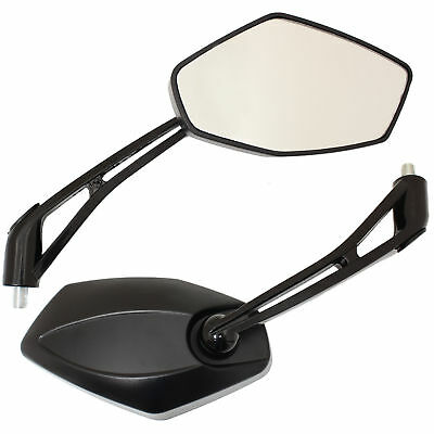 Black Large Motorcycle Side Mirrors Universal 8/10mm Thread Motorbike Rear View