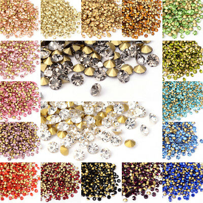1440pcs/Bag Faceted Glass Pointed Rhinestone Findings Back Plated Tiny Craft 2mm