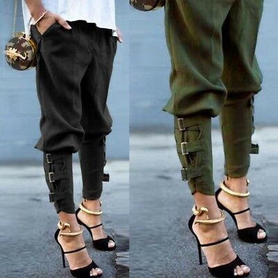 UK STOCK Womens Elastic High Wiast Military Camo Fit Pants Trousers Combat Cargo